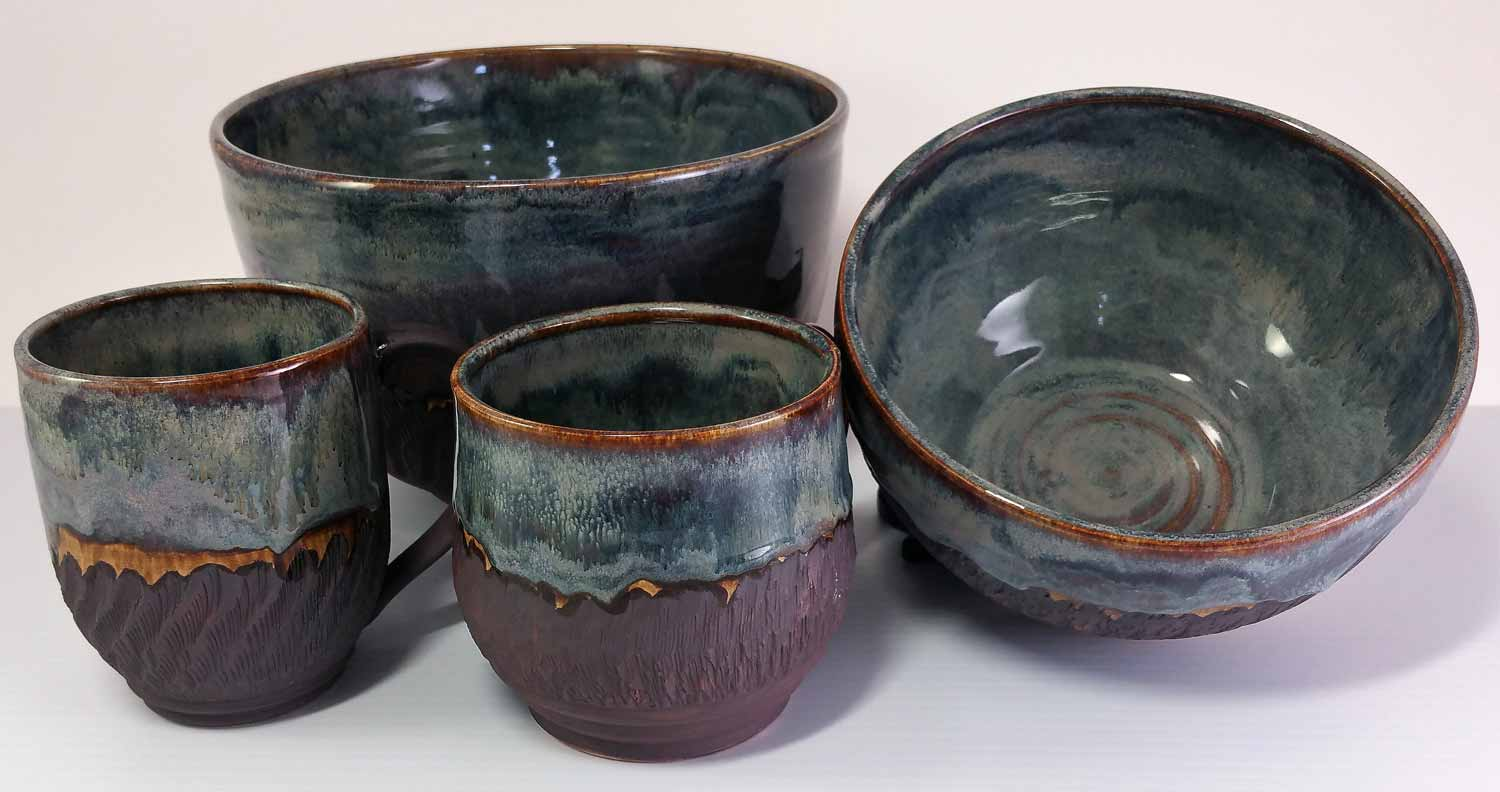 Assorted Cups, Bowls, porcelain‑hybrid clay