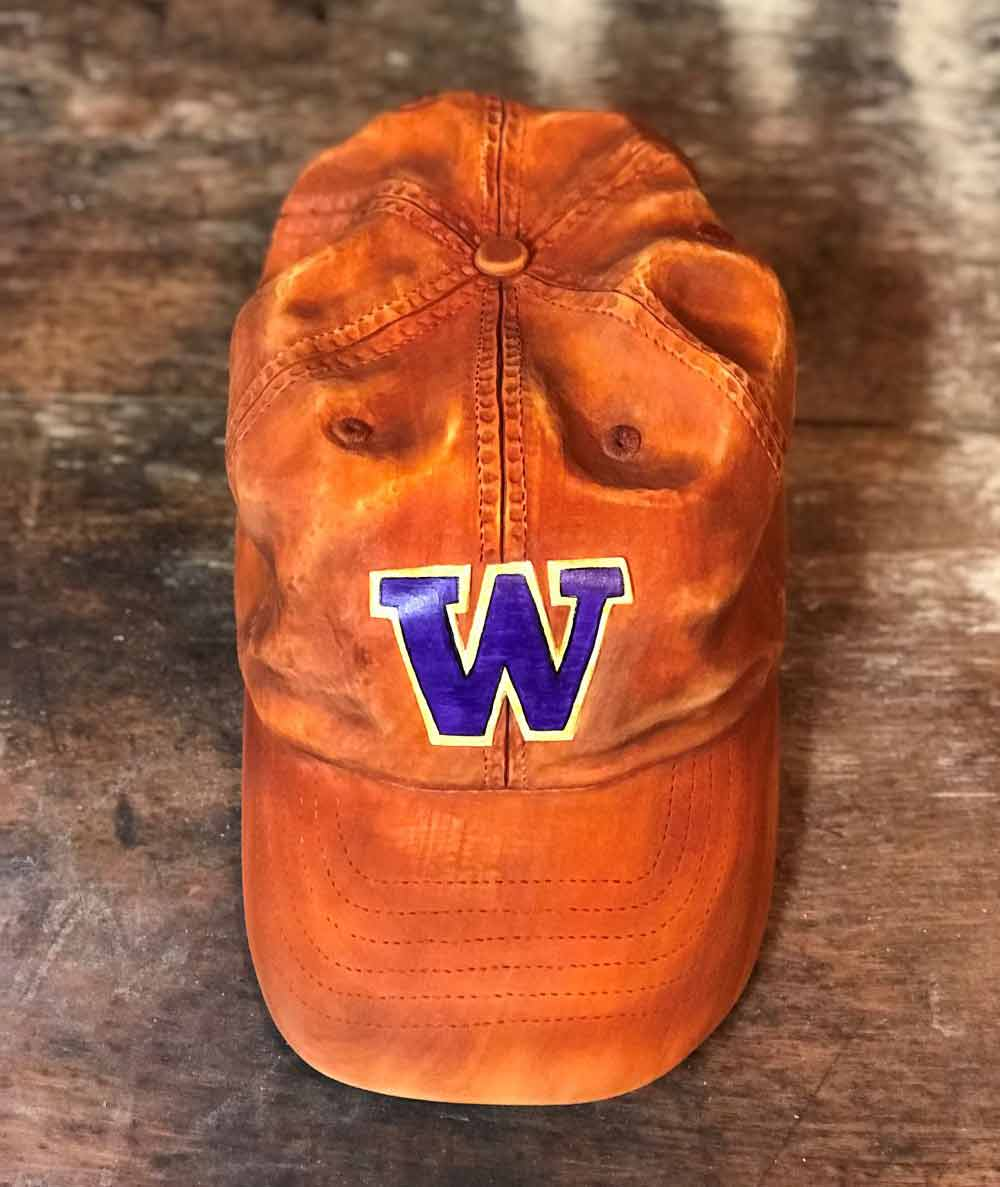 "University of Washington Wood Carved Hat, Basswood, 9"" L x 6"" W x 4"" H"