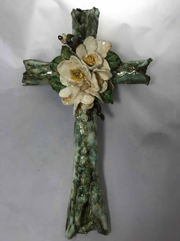 "Aquamarine Cross, stoneware and porcelain, 17"" x 8"""