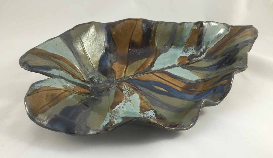 "Leaf Platter, food safe glazed stoneware, 19"" x 13"""