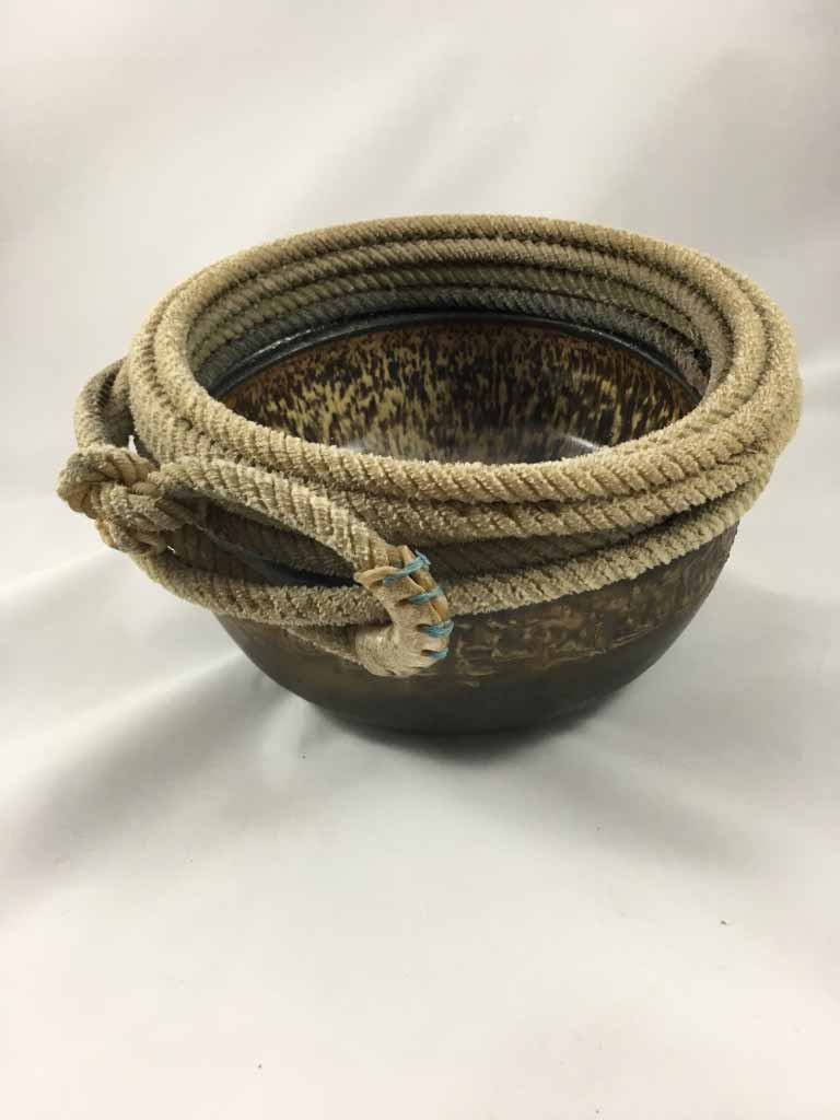 Roping Bowl, stoneware and vintage soldered lariat rope, 12""