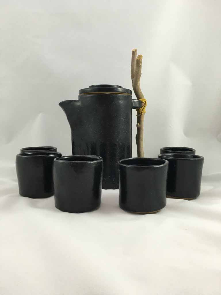 Seven Piece Stoneware Tea Set