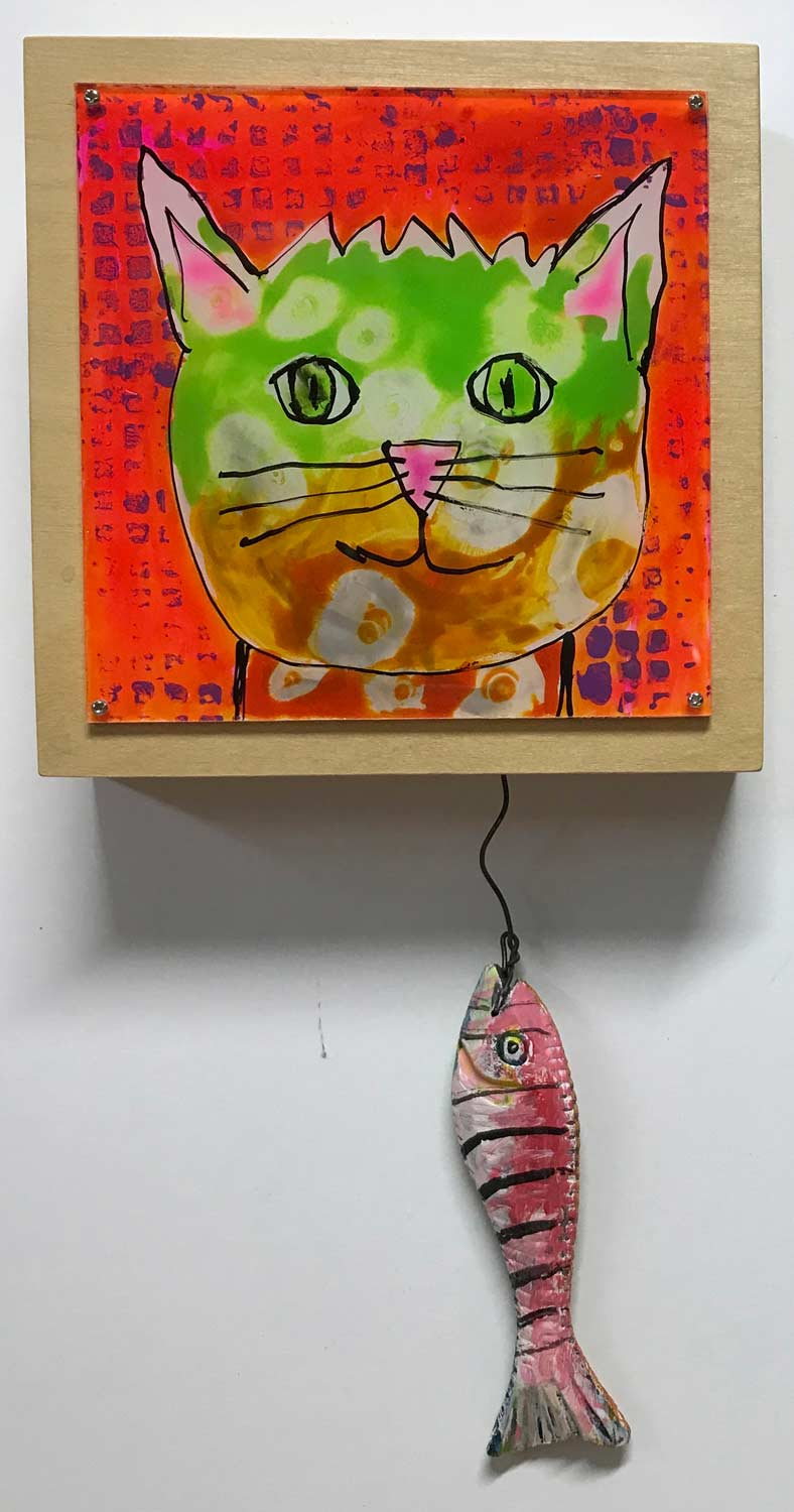 """Cat w/Fish"" Mixed media 9"" x 6"""
