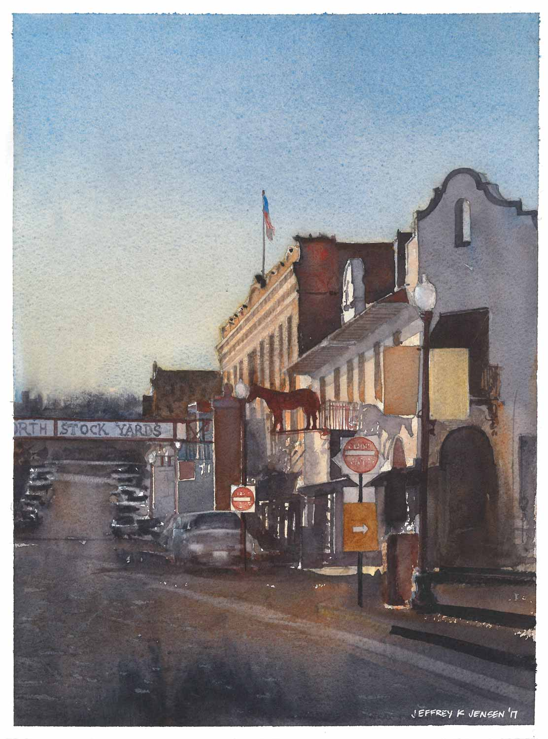 """Exchange Avenue Sunset"", Watercolor 10"" x 14"""