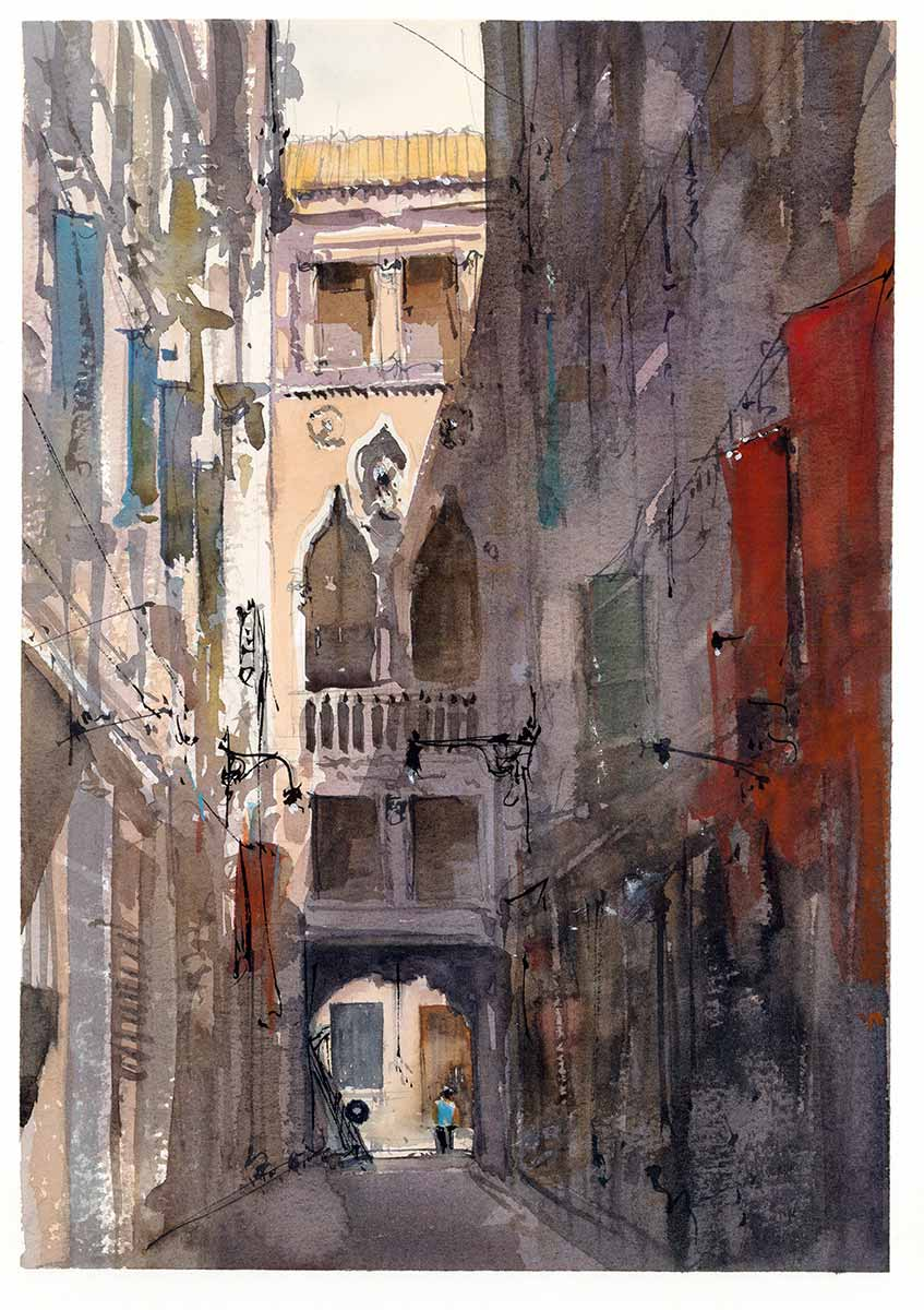 """Danieli Side Street"", Watercolor 10"" x 14"""