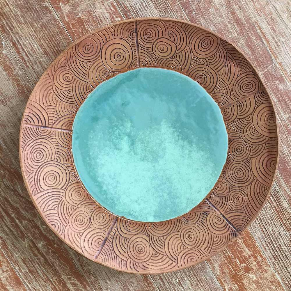 Large Turquoise and Brown Platter, hand built, thrown and assembled, hand carved, stained and glazed with food safe glaze