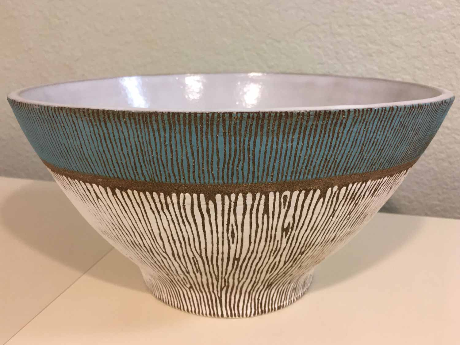 "Carved thrown bowl, stoneware 12""x7"""