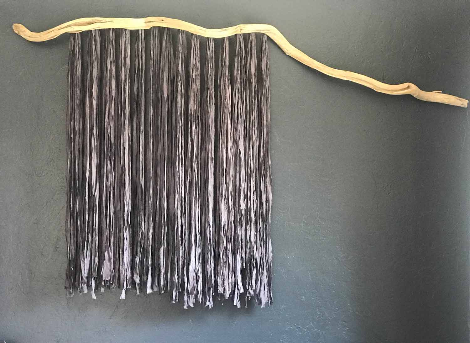 Driftwood and Hand Dyed Fabric Wall Hanging
