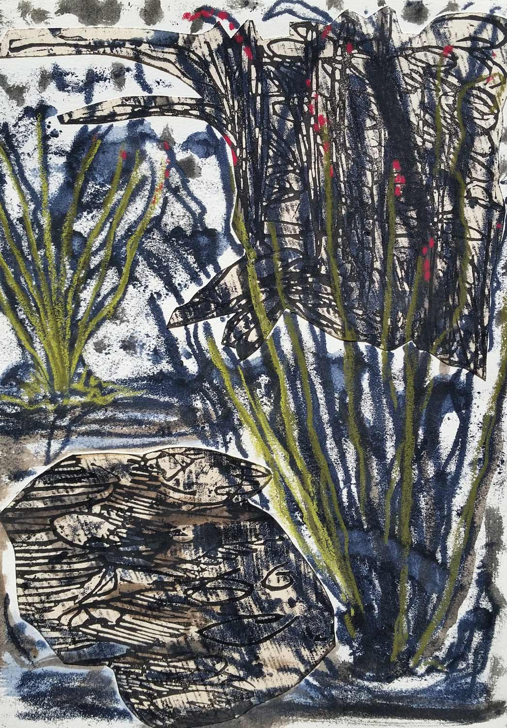 Ocotillo Field, linocut, trace monotype pastel enhanced collage