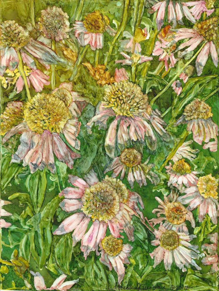 """""""Mountain Pink Cone Flowers, """"8.25"""" x 10.75"""", Alcohol ink"""