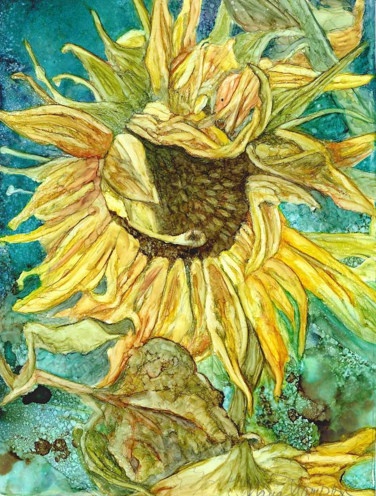 """Sunflower"", 8.25"" x 10.75"", Alcohol Ink"