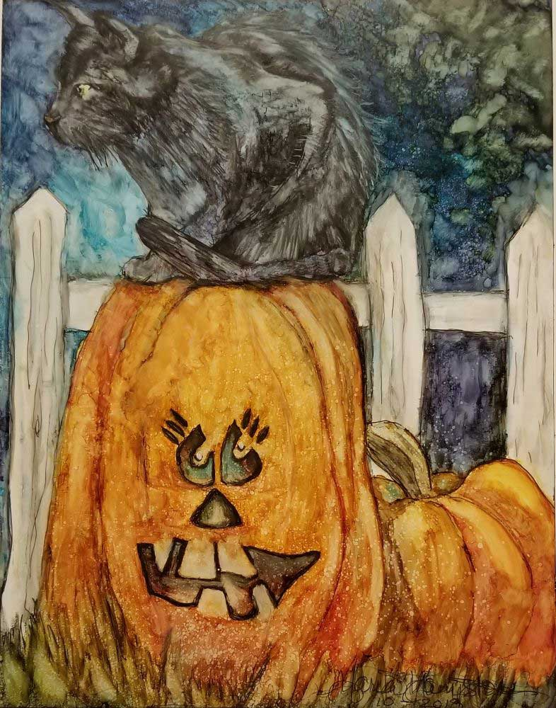 """Black Cat in a Pumpkin Patch"", 8.5"" x 11.25"", Alcohol Ink"