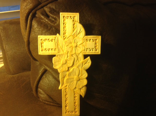 """Cross & Dogwood, Basswood with natural finish, 5"""" x 8"""""""