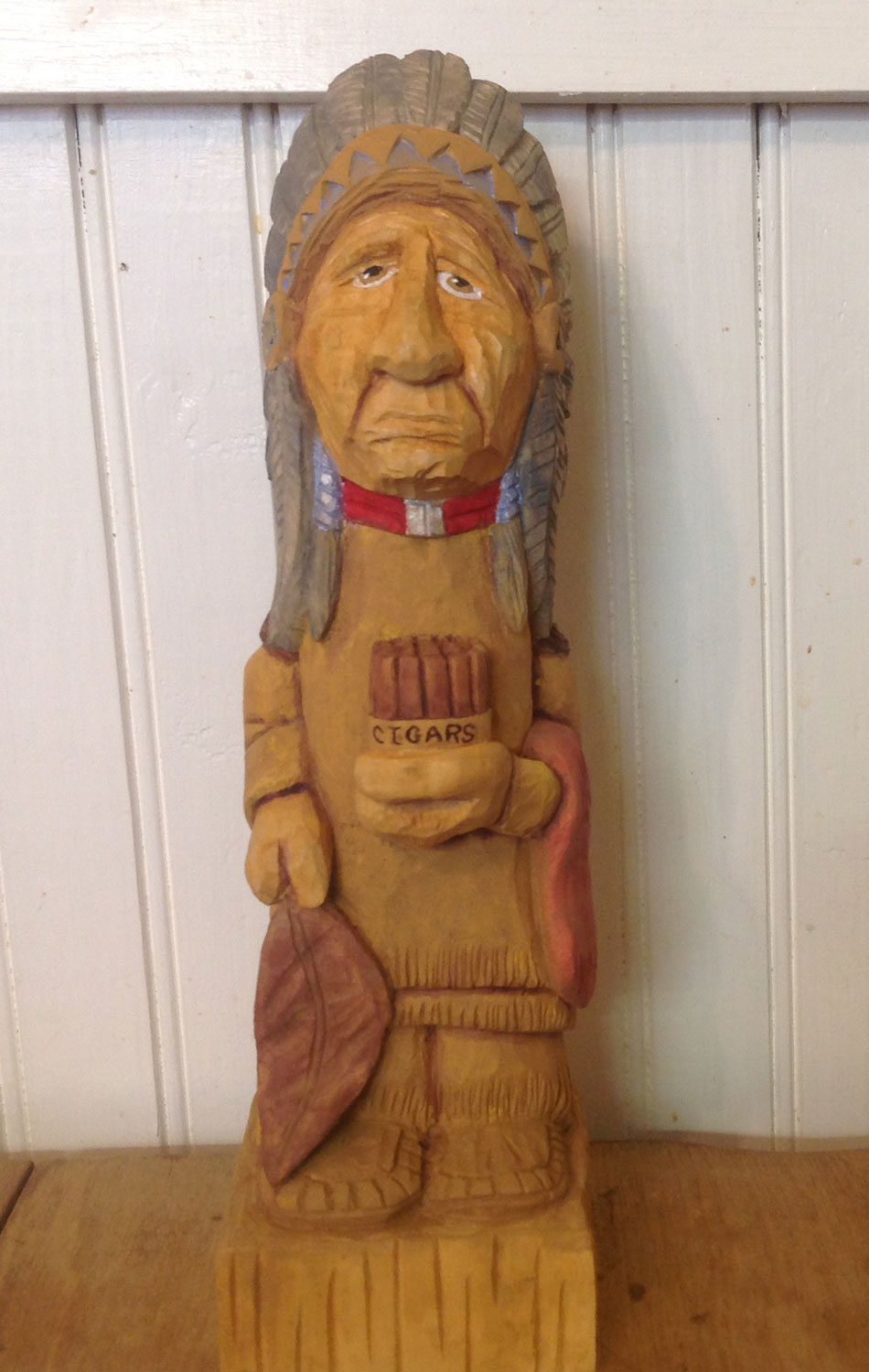 "Cigar Store Indian, Basswood & acrylic, 10"" tall"