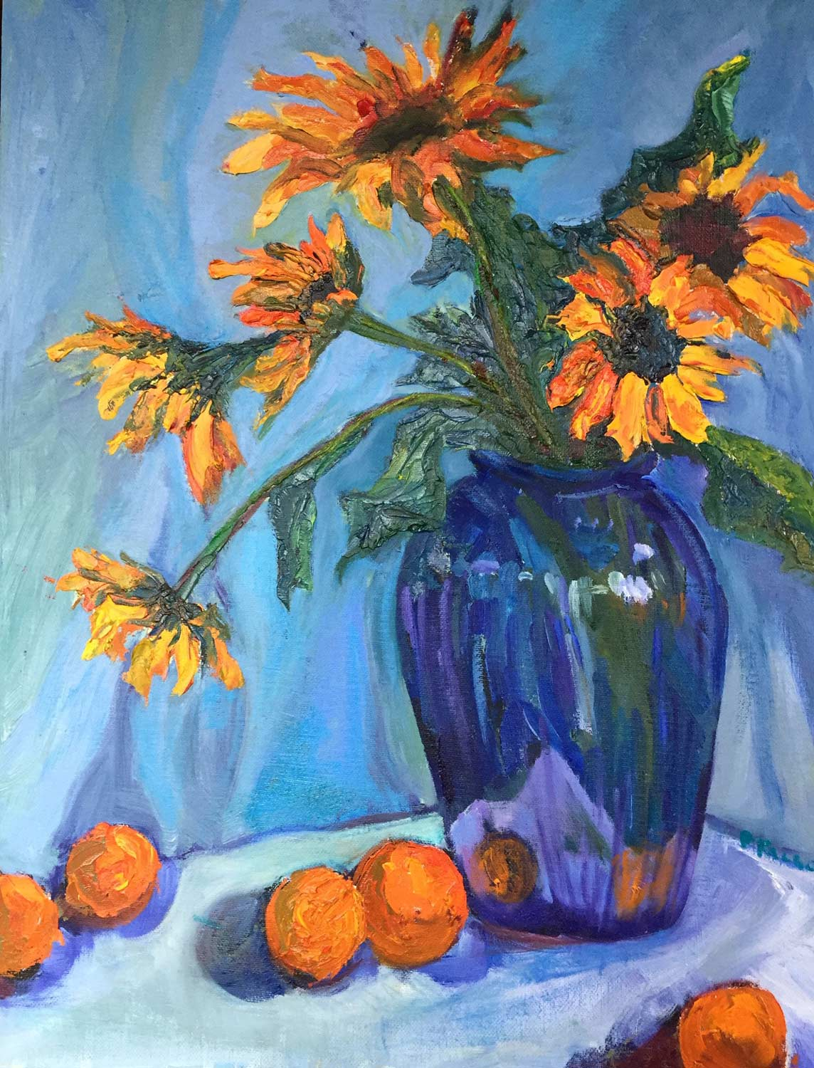 Sunflowers and Tangerines, oil
