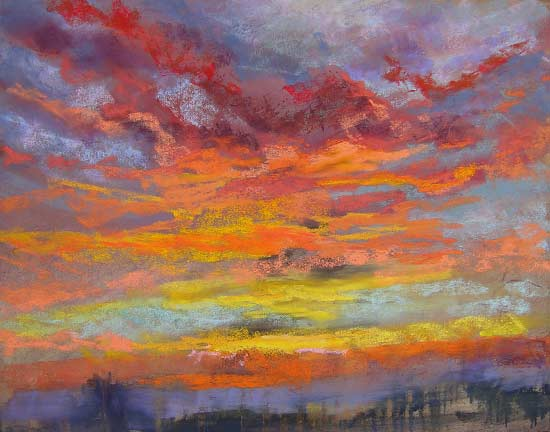 Red Sky at Morning, pastel