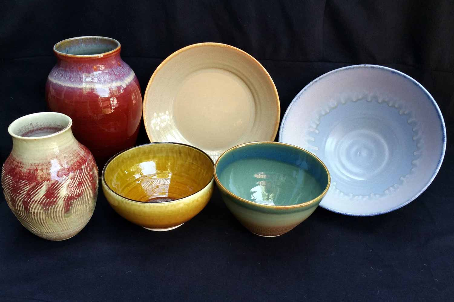 Assorted Glazed Pottery Bowls Vessels