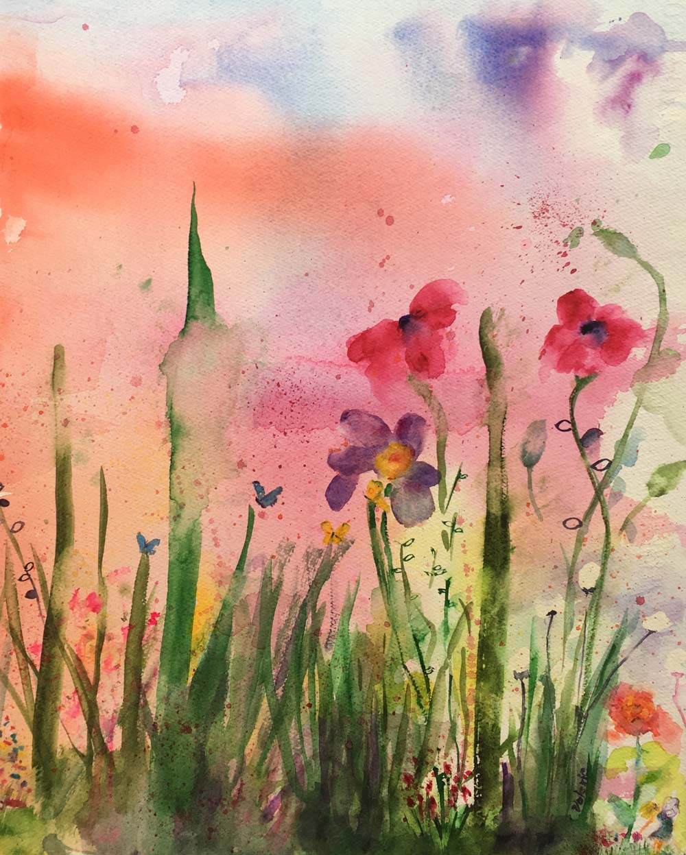 """Wildflowers with Fairy, Watercolor, 22"""" x 15"""""""