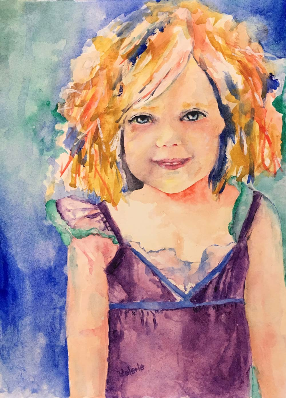 "A Young Girl, Watercolor, 15"" x 11"""