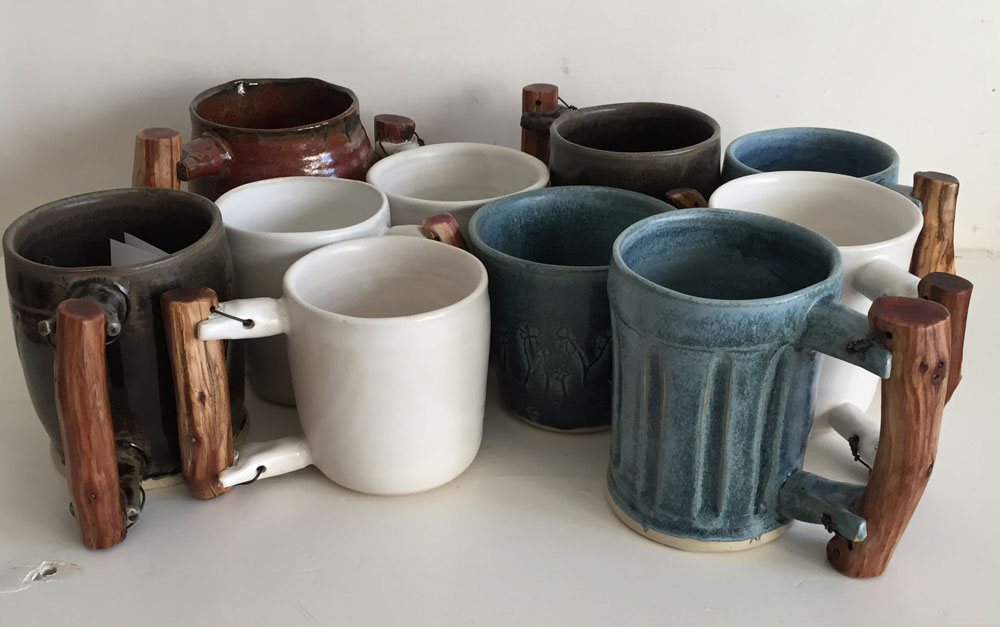 "Wood Handle Mugs, Stoneware, 3"" x 4"""