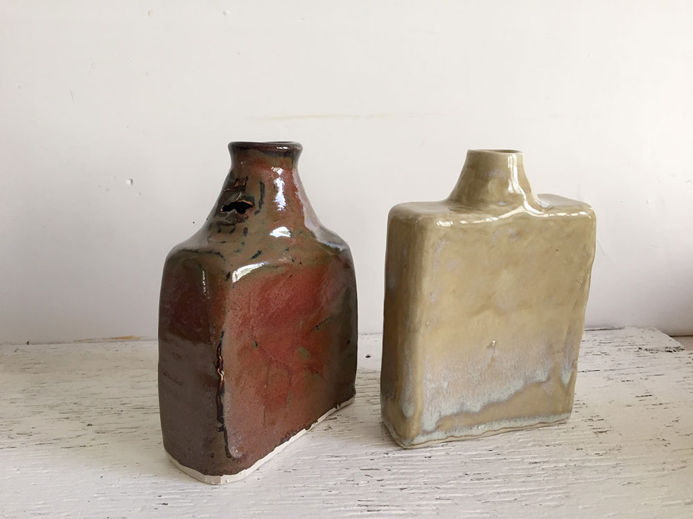 "Flasks, Stoneware, 4"" x 5"""