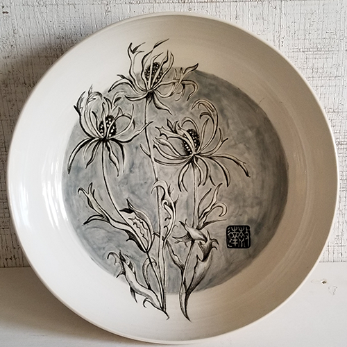 """Thistles Bowl,"" Handpainted porcelain bowl."