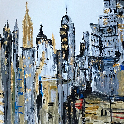 The City, Acrylic, 16x20""