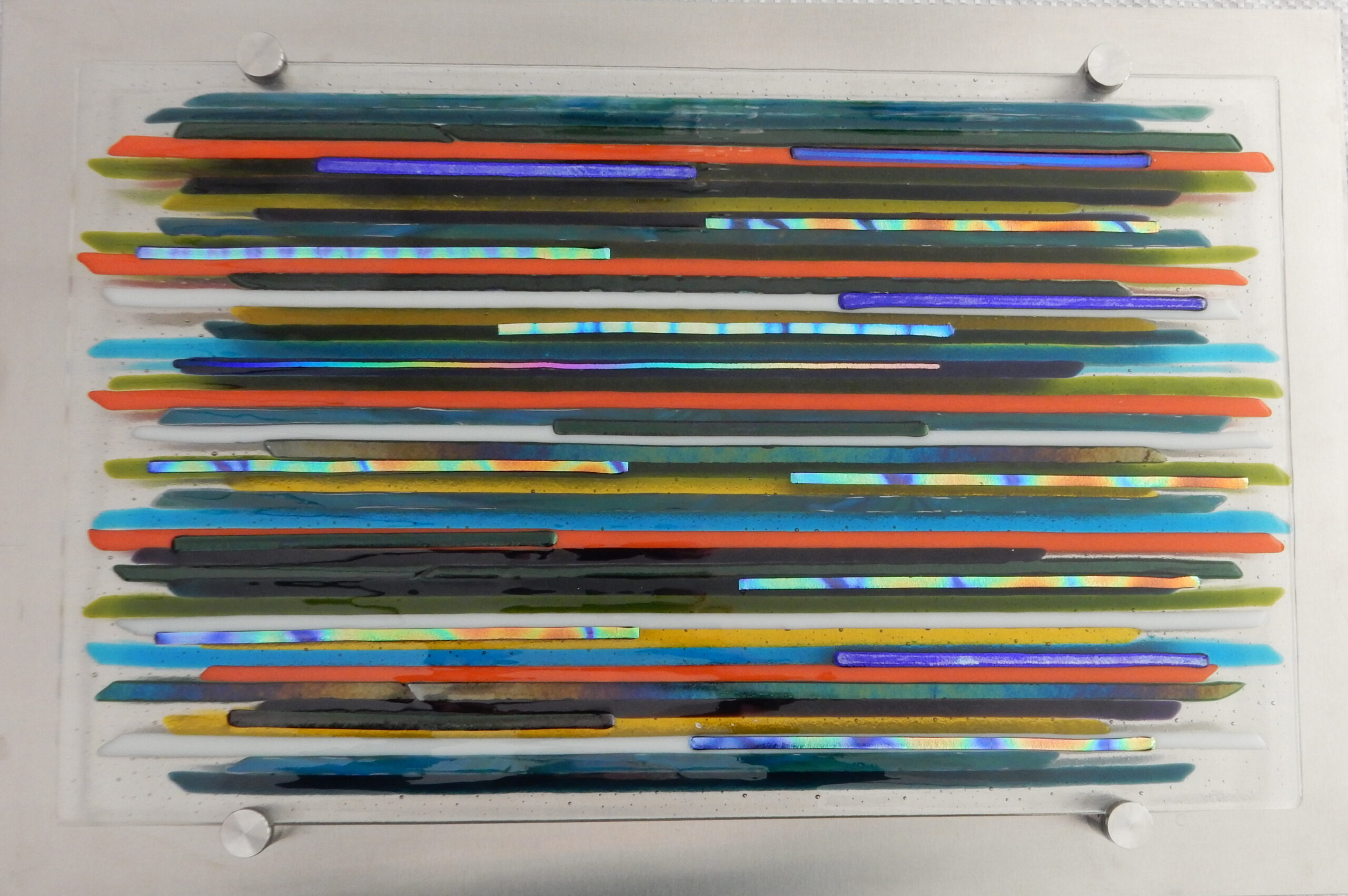 """Fused glass rods on brush steel base 20"""" x 12"""""""