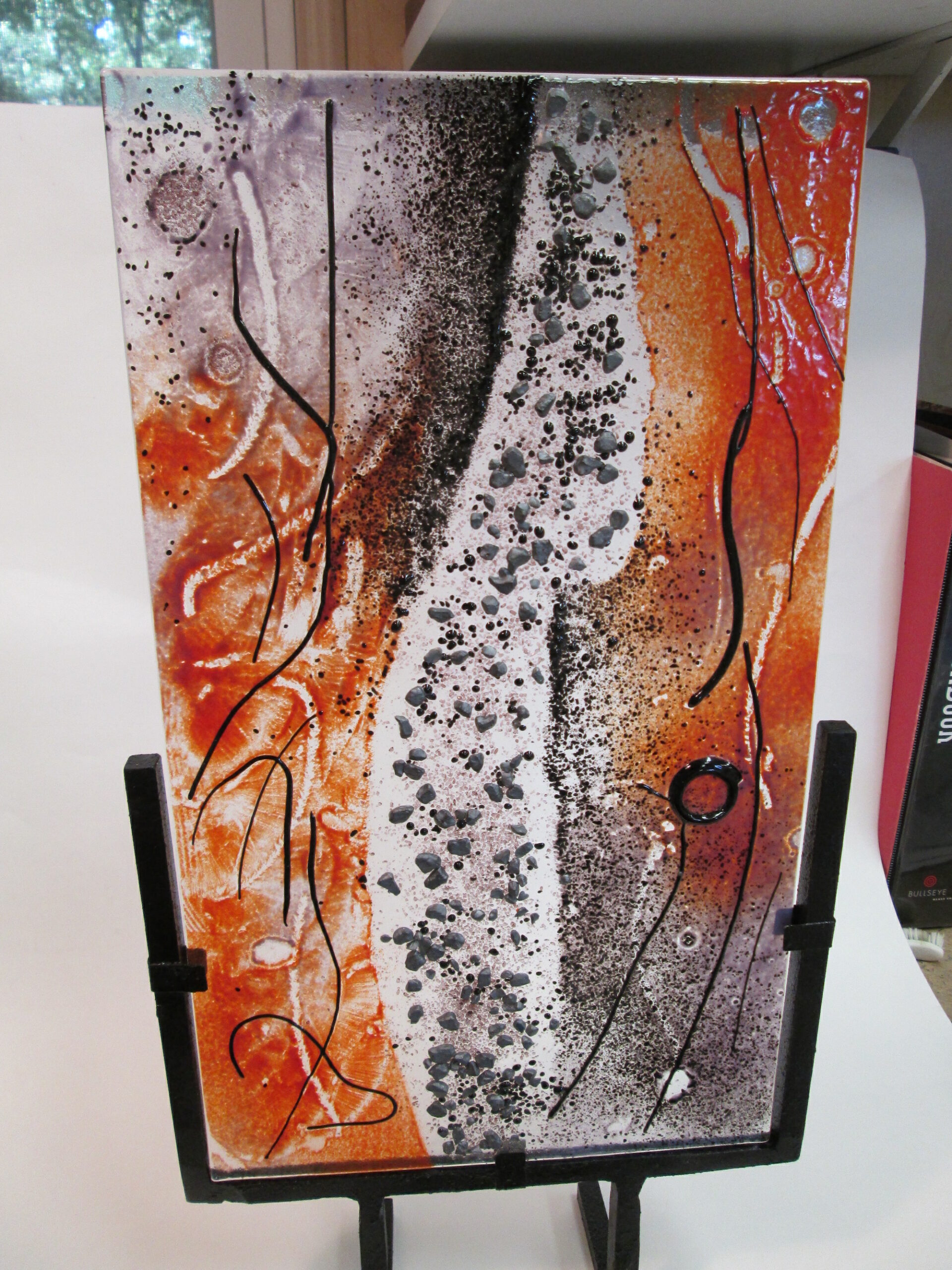 Fused glass on stand 18x10