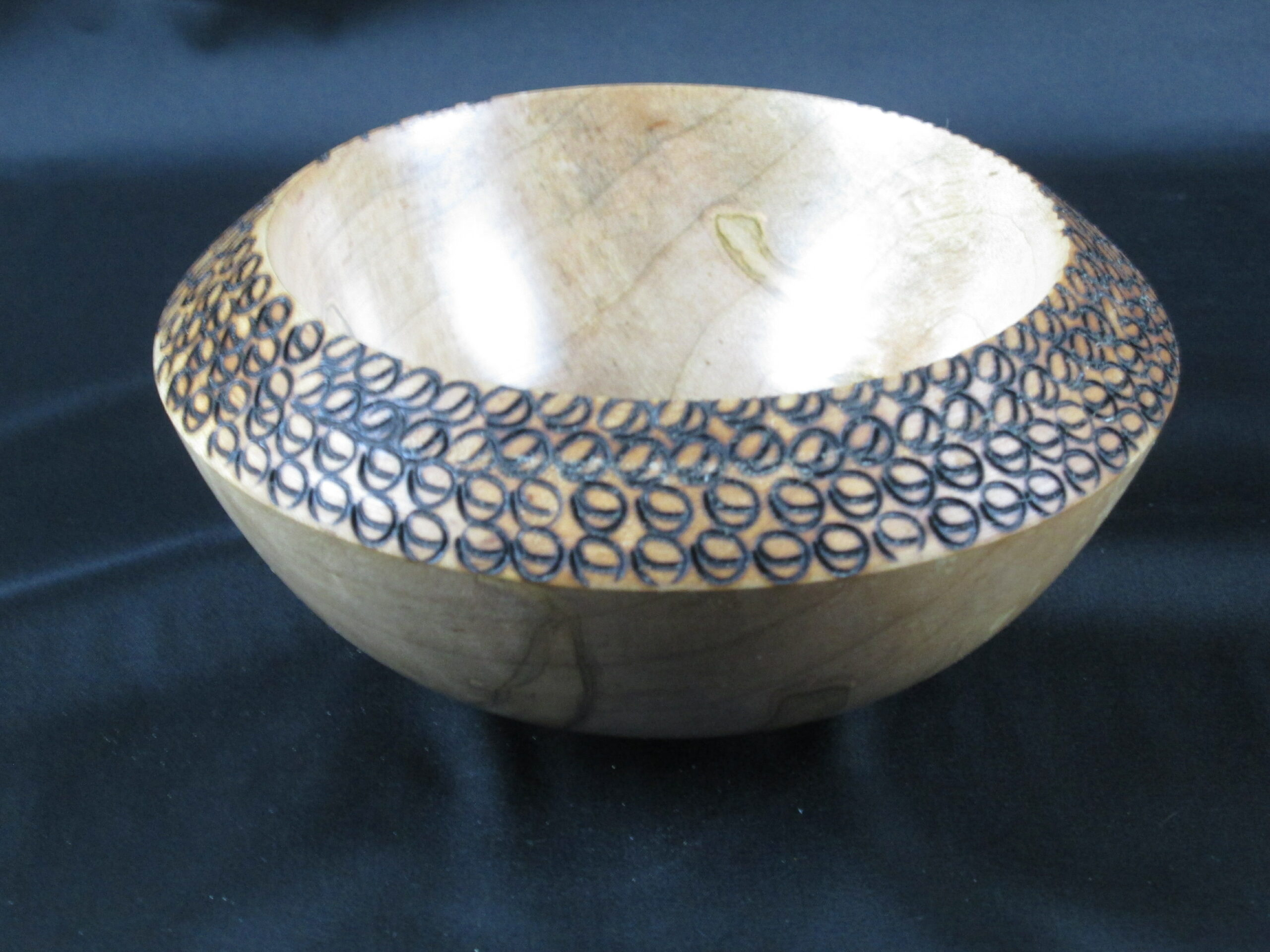 Maple Bowl w/ Decorated Rim