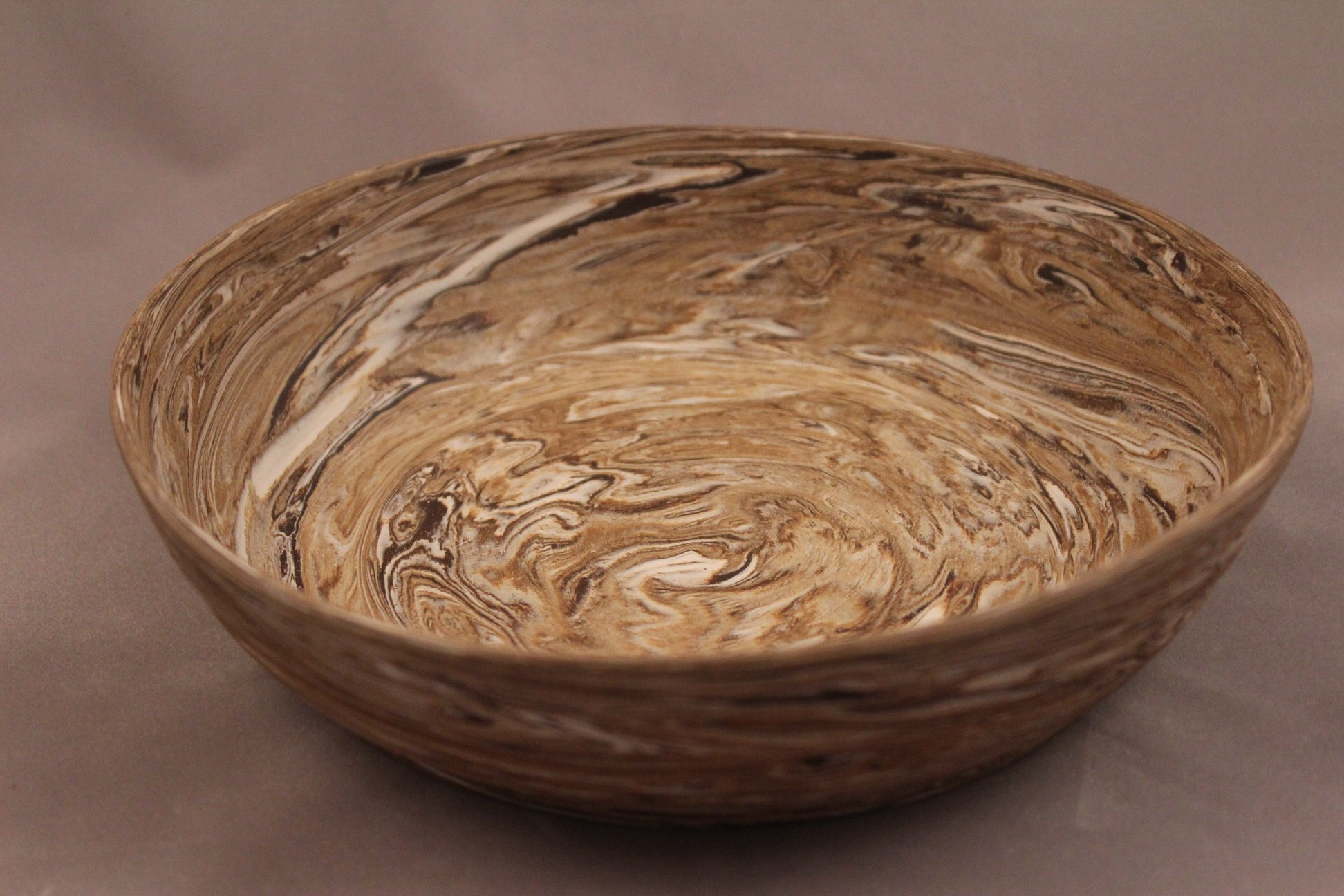 """Marbled Bowl"" Black and porcelain clays, raw finish"
