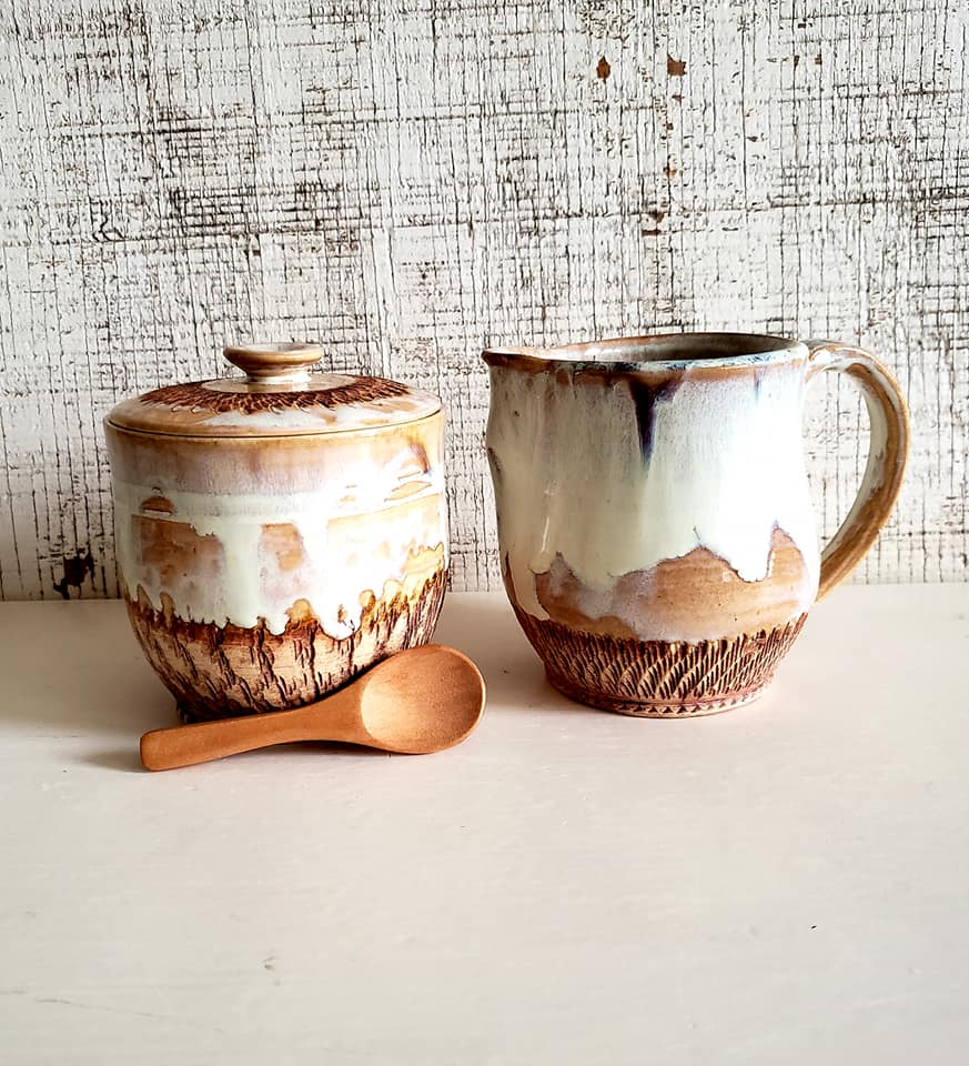 """Milk & Honey Cream and Sugar Set"" Porcelain-hybrid Clay"