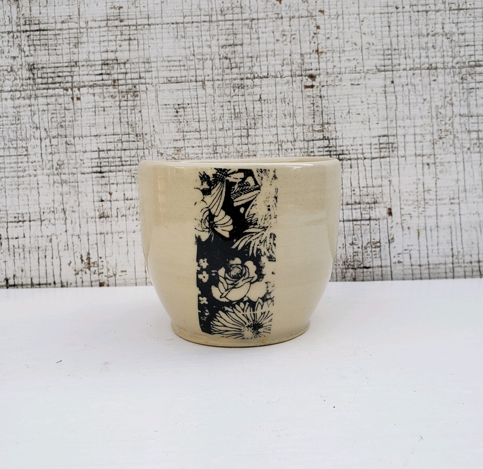 """Black and White Wine Cup,"" Wheel Thrown Cup with Underglaze Transfer"