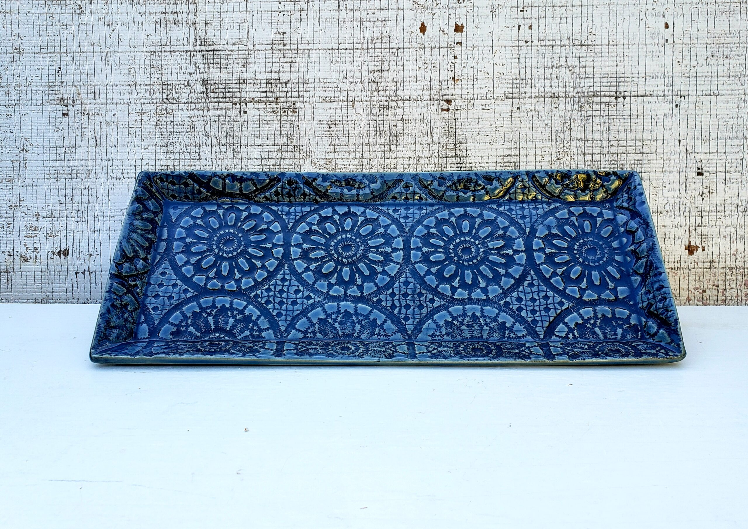 """Blue Lace Platter"" Handbuilt platter with lace-imprinted texture"