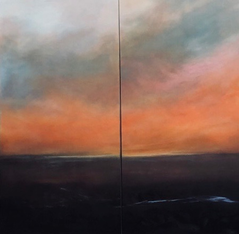 """Chasing Daylight"" Oil, Diptych- 48 x 48"